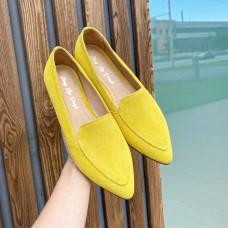 Лоферы женские желтые замшевые остроносые 0426 (образец)