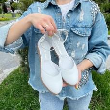 Босоножки женские белые кожаные 0427 (образец)