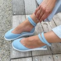 Босоножки женские голубые замшевые 0436