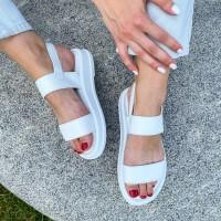 Босоножки женские белые кожаные 0437