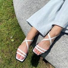 Босоножки женские белые кожаные 0441 (образец)