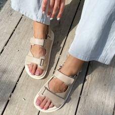 Босоножки женские бежевые кожаные на липучках 0445 (образец)