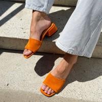 Мюли женские оранжевые замшевые с открытым носком 0461
