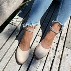 Босоножки женские бежевые кожаные 0463 (образец)