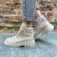 Женские ботинки замшевые с кожаными вставками 0474 (образец)
