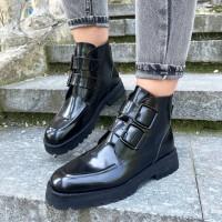 Женские ботинки черные кожаные 0482