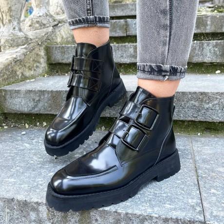 Женские ботинки черные кожаные 0482 (образец)