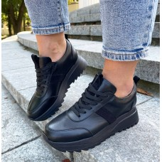 Кроссовки женские черные кожаные 0483