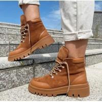Женские ботинки замшевые с кожаными вставками 0489 (образец)