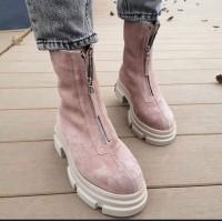 Женские ботинки замшевые с молнией 0490 (образец)