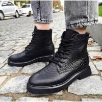 Женские ботинки с фактурной кожи  0491 (образец)