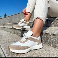 Кроссовки женские бежевые с белым кожаные 0496 (образец)