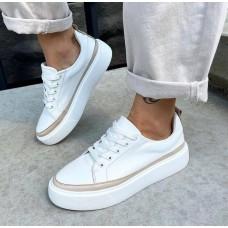 Кеды  белые женские кожаные с цветной вставкой 0500 (образец)