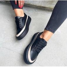 Кеды  черные женские кожаные с цветной вставкой 0502 (образец)