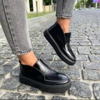Лоферы женские черные  кожаные цвета  0504