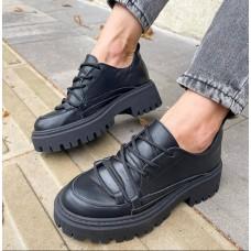 Броги женские черные кожаные  0505 (образец)