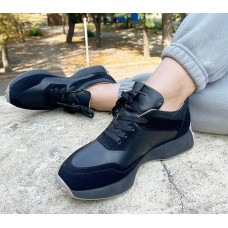 Кроссовки женские черные кожаные с замшевым вставками 0511
