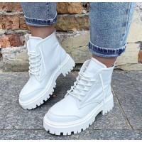 Женские белые ботинки кожаные 0513 (образец)