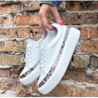 Кеды  белые женские кожаные с цветной вставкой 0518