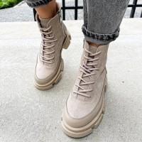 Женские ботинки замшевые  с кожаными вставками 0541 (образец)