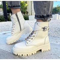 Женские молочные ботинки кожаные 0544 (образец)