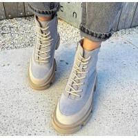 Женские ботинки замшевые  с кожаными вставками 0545 (образец)